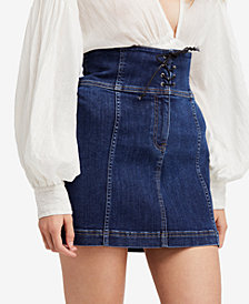 Free People Modern Femme Lace-Up Denim Mini Skirt