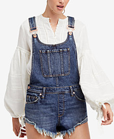 Free People Summer Babe Cotton Denim Overalls