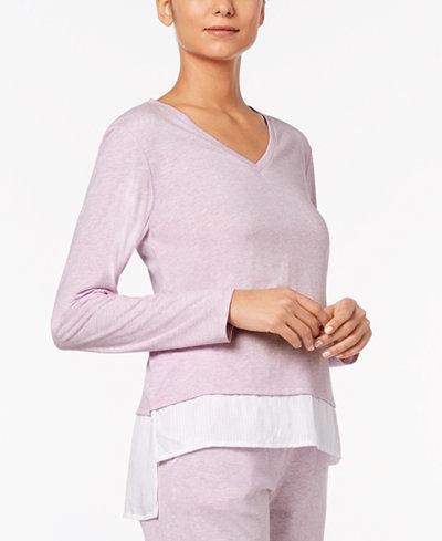 Alfani Layered-Look Pajama Top, Created for Macy's