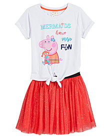Nickelodeon's® Peppa Pig 2-Pc. Mermaid T-Shirt & Glitter-Skirt Set, Little Girls