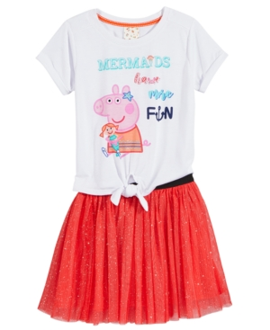 Peppa Pig 2Pc Mermaid TShirt  GlitterSkirt Set Little Girls (46X)