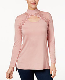 Love Scarlett Petite Mock-Neck Lace Cutout Top, Created for Macy's