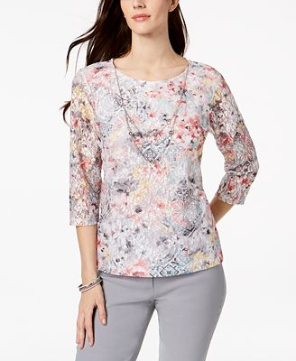Alfred Dunner Lakeshore Drive Lace Necklace Top