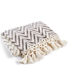 "LAST ACT! Lacourte Cotton Ombré Chevron Stripe 50"" x 60"" Throw, Created for Macy's"