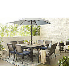 "Harlough II 8-Pc. Outdoor Dining Set (62"" Square Dining Table, 6 Dining Chairs and 1 Dining Bench) with Sunbrella® Cushions, Created for Macy's"