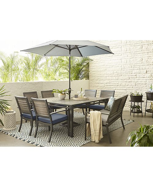 Furniture Harlough Ii 8 Pc Outdoor Dining Set 62 Square Dining Table 6 Dining Chairs And 1 Dining Bench With Sunbrella Cushions Created For Macy S Reviews Furniture Macy S