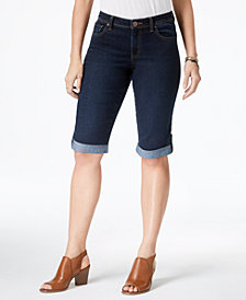 Style & Co Cuffed Denim Skimmer Shorts,  Created for Macy's