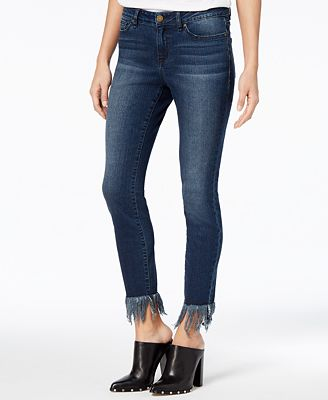 William Rast Fringe Hem Skinny Jeans