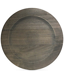 Jay Imports Gray Faux Wood Charger Plate