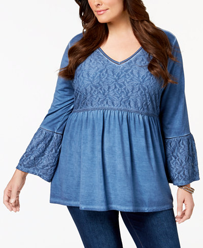 Style & Co Plus Size Patterned Babydoll Tunic, Created for Macy's