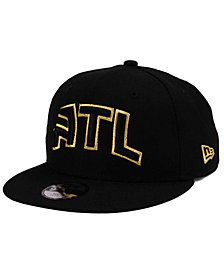 New Era Boys' Atlanta Hawks Black on Gold 9FIFTY Snapback Cap