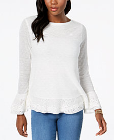 Style & Co Petite Ruffle-Trim Sweater, Created for Macy's