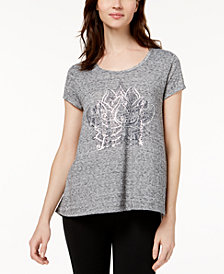 Style & Co High-Low Graphic T-Shirt, Created for Macys
