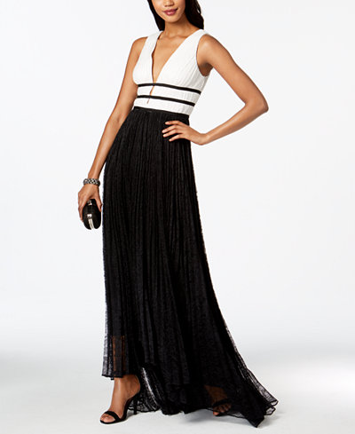 Adrianna Papell High-Low Lace Gown