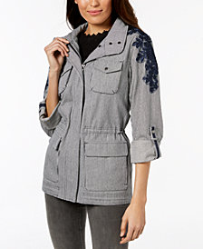 Vince Camuto Hooded Tab-Sleeve Embroidered Anorak