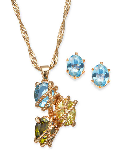 Charter Club Gold-Tone Multi-Stone Wrapped Pendant Necklace & Stud Earrings Set, Created for Macy's