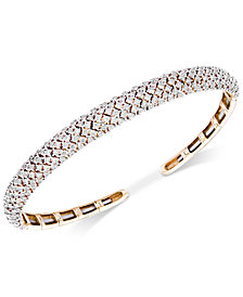 Wrapped in Love™ Diamond Pavé Cuff Bracelet (3 ct. t.w.) in 14k Gold, Created for Macy's