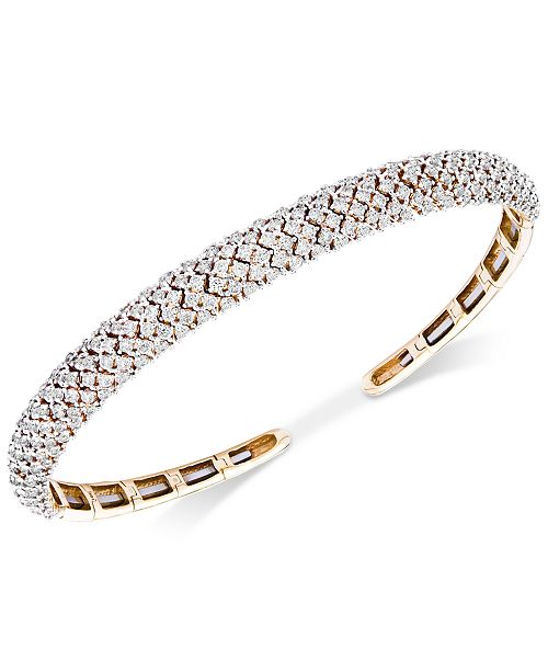 Wrapped in Love Diamond Pavé Cuff Bracelet (3 ct. t.w.) in 14k Gold, Created for Macy's