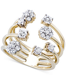 Wrapped™ Diamond Cluster Cuff Ring (3/8 ct. t.w.) in 14k Gold-Plated Sterling Silver, Created for Macy's