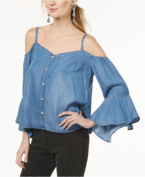 c9db9445f4c ... INC International Concepts I.N.C. Chambray Bell-Sleeve Top