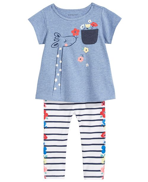 First Impressions Giraffe-Print Tunic & Striped Leggings Separates, Baby Girls, Created for Macy's
