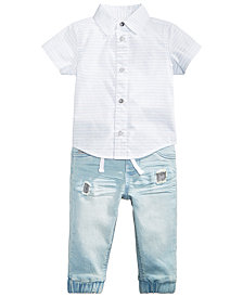 First Impressions Striped Shirt & Jeans, Baby Boys, Created for Macy's