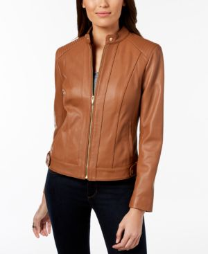 Cole Haan Seamed Leather Jacket In Cognac Modesens