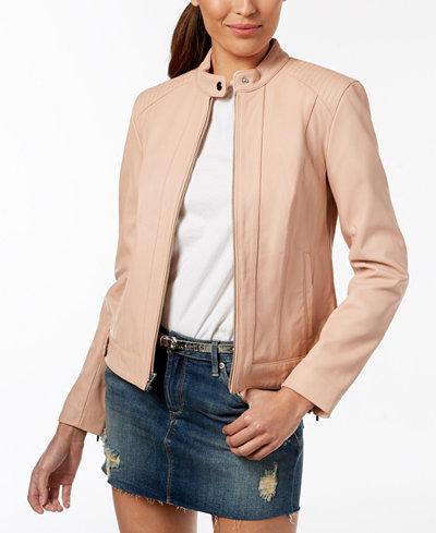 Cole Haan Petite Snap-Neck Leather Moto Jacket