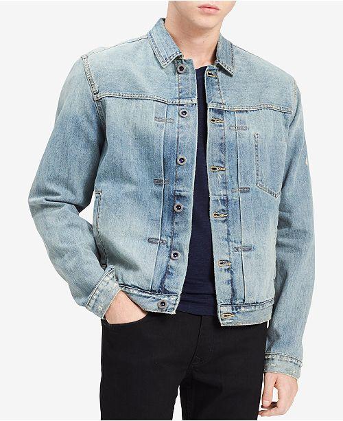 Calvin Klein Jeans Men s Antique Wash Denim Trucker Jacket - Coats ... c74f205abd