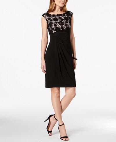 Connected Cap-Sleeve Soutache Faux-Wrap Dress