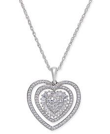 Diamond Heart Pendant Necklace (1/2 ct. t.w.) in Sterling Silver.