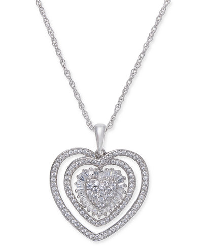 Diamond Heart Pendant Necklace (1/2 ct. t.w.) in Sterling Silver.