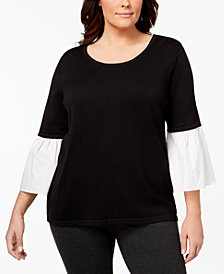 Calvin Klein Plus Size Contrast Bell-Sleeve Sweater