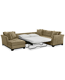 CLOSEOUT! Elliot 3-Pc. Fabric Microfiber Sectional with Full Sleeper Sofa & Chaise, Created for Macy's