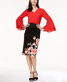 Alfani Bell-Sleeve Top & Printed Skirt, Created for Macy's