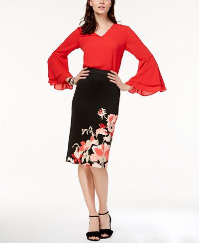 Alfani Bell-Sleeve Top & Printed Skirt, Created for Macy's