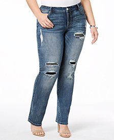 I.N.C. Plus Size Ripped Straight-Leg Jeans, Created for Macy's