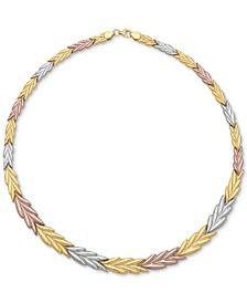 Tri-Color Chevron Stampato Collar Necklace in 14k Gold, White Gold & Rose Gold
