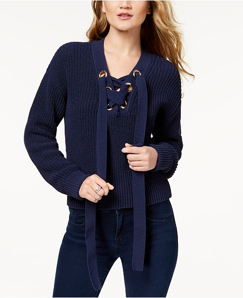 f08eb33815a94 Michael Kors Lace-Up Sweater   Reviews - Sweaters - Women - Macy s