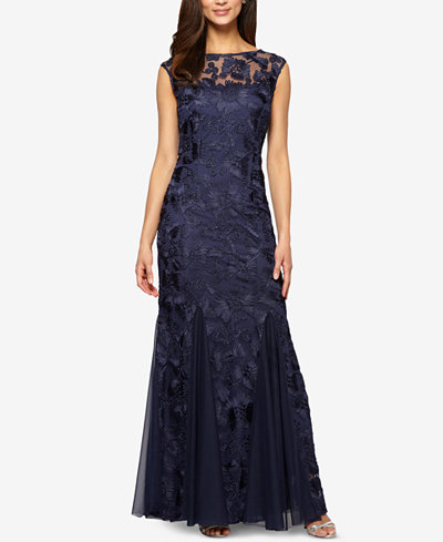 Alex Evenings Petite Embroidered Illusion Gown