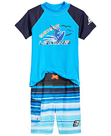 Laguna 2-Pc. Rash Guard & Swim Trunks Set, Toddler Boys