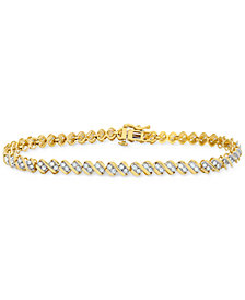 Diamond Swirl Tennis Bracelet (1 ct. t.w.) in 14k Gold