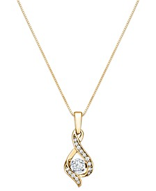 """Diamond Teardrop 18"""" Pendant Necklace in 14k White Gold, Yellow Gold and Rose Gold (1/8 ct. t.w.)"""
