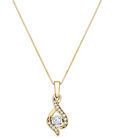 "Diamond Teardrop 18"" Pendant Necklace in 14k White Gold, Yellow Gold and Rose Gold (1/8 ct. t.w.)"