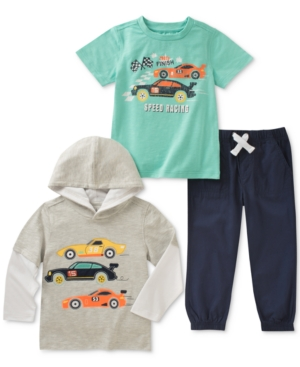 Kids Headquarters 3Pc GraphicPrint TShirt Hoodie  Pants Set Toddler Boys (2T5T)