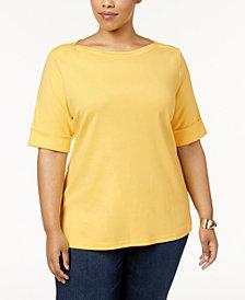 Karen Scott Plus Size Cotton Cuffed-Sleeve Top, Created for Macy's