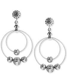 American West Double Hoop Beaded Drop Earrings in Sterling Silver