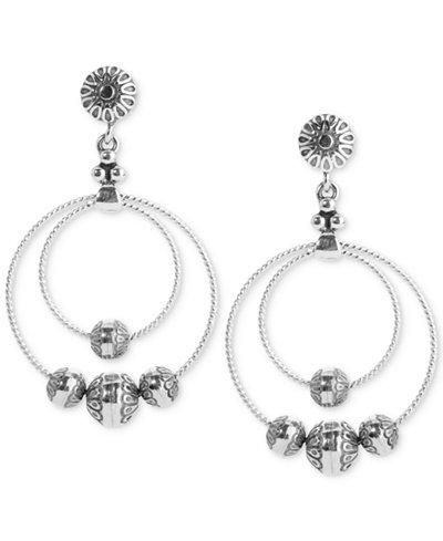 Carolyn Pollack Double Hoop Beaded Drop Earrings in Sterling Silver