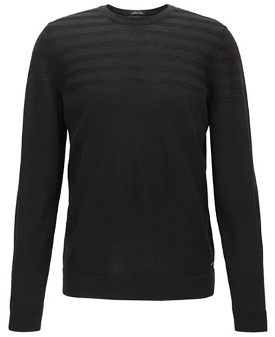 BOSS Men's Regular/Classic-Fit Striped Stretch Sweater