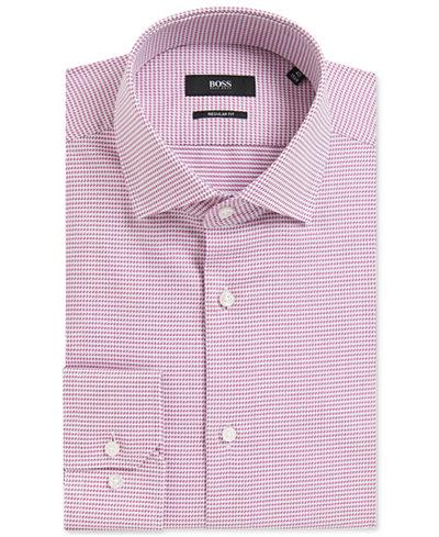 BOSS Men's Regular/Classic-Fit Geometric Cotton Dress Shirt